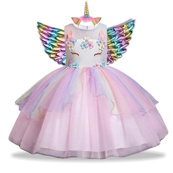 Pink Fancy Unicorn Dress Girls Costume