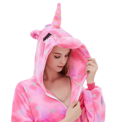 Pink Unicorn Onesie Costume for Women Head