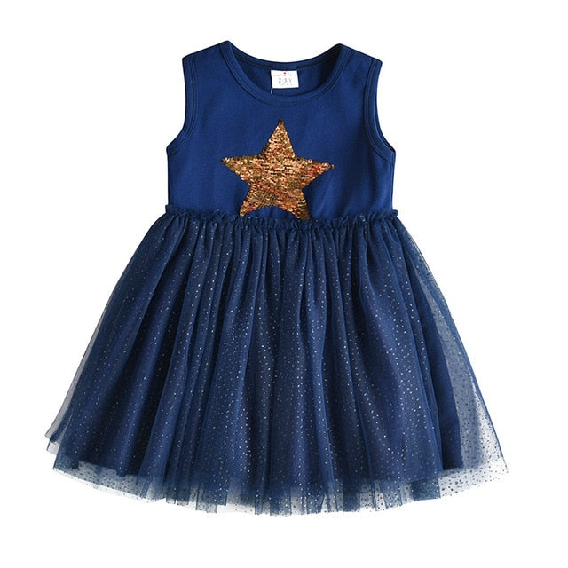 Blue Sleeveless Unicorn Dress
