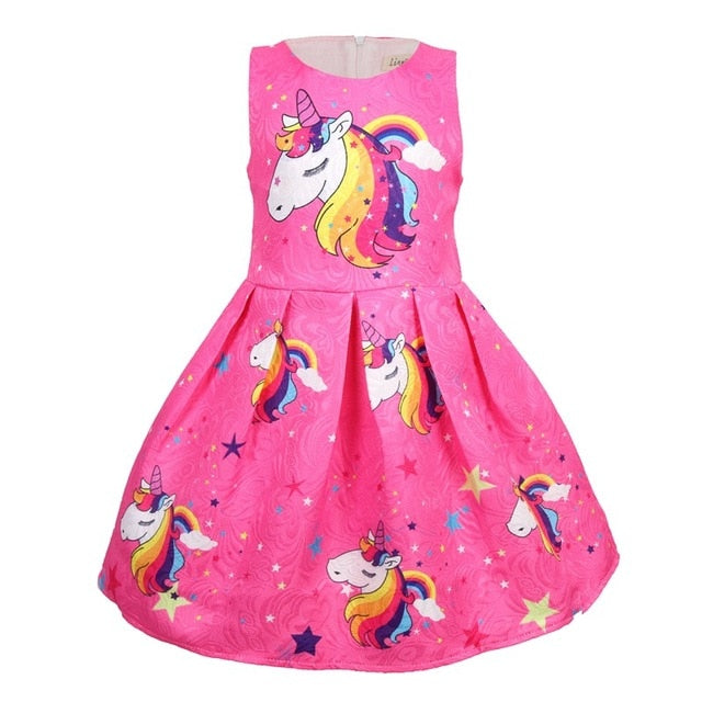Casual Unicorn Dress Girls Clothing