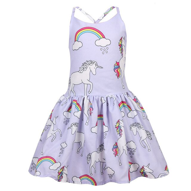 Blue Unicorn Dress Baby Girl