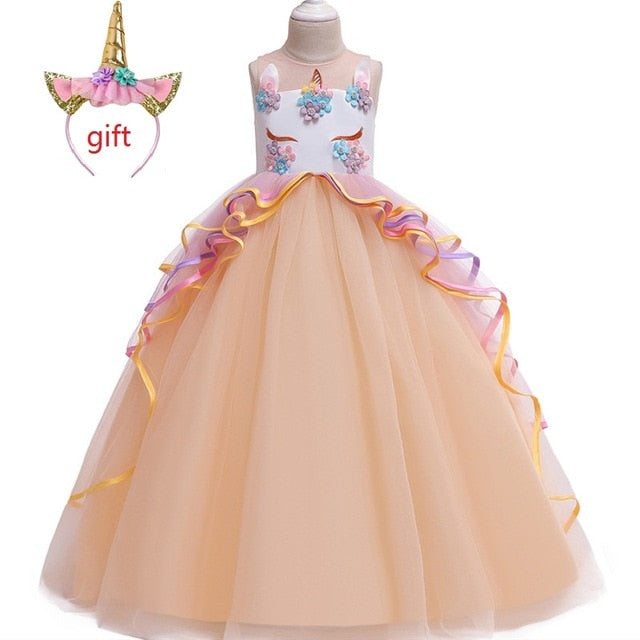 Long Fairy Unicorn Dress Kids
