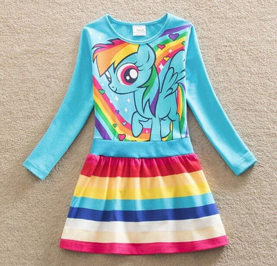 Blue Unicorn Cartoon Dress