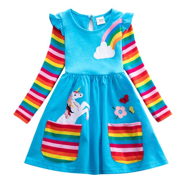 Casual Blue Unicorn Dress