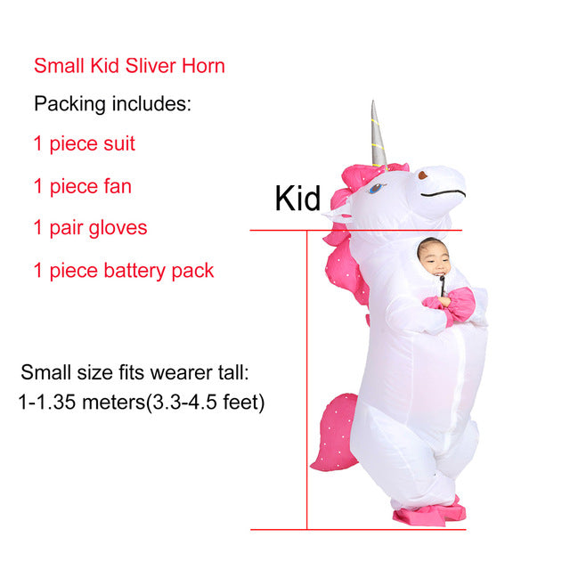 White Unicorn Inflatable Costume Girl