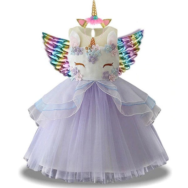 Purple Unicorn Birthday Dress for Girls