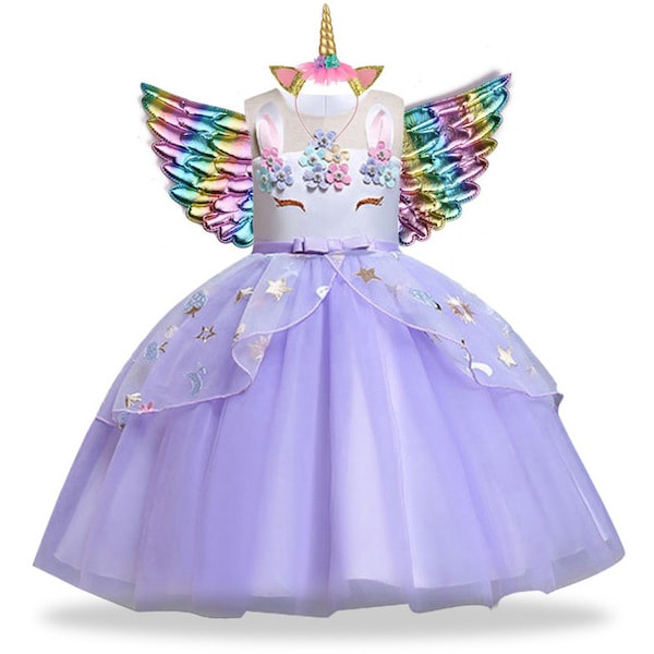 Purple Unicorn Dress for Girls