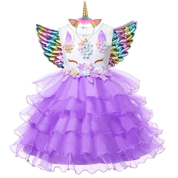 Purple Unicorn Dress for Kids Birthday