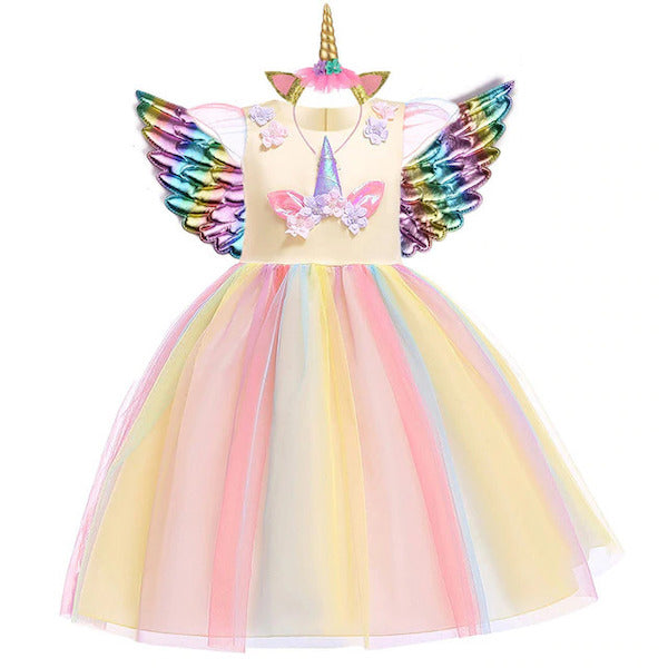 Rainbow Yellow Unicorn Dress Baby Girl