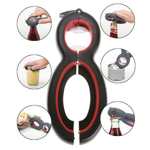 6 in 1 Multi Function Can Beer Bottle Opener All in One Jar Gripper Can Beer Lid Twist Off Jar Wine Opener Claw VIP Dropship