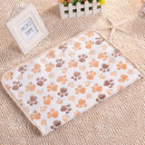 New Arrival 3 Colors Cute Floral Pet Sleep Warm Paw Print Towel Dog Cat Puppy Fleece Soft Dog Blanket Pet Dog Beds Mat