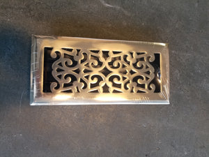 "4""x10"" Polished Brass Scroll with Damper Duct Opening Grill"