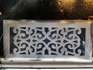 "4""x10"" Antique Pewter Scroll with Damper Duct Opening Grill"