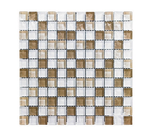 12x12 Mono Serra Mosaic Tile, Brown White Stone & Glass GL-307