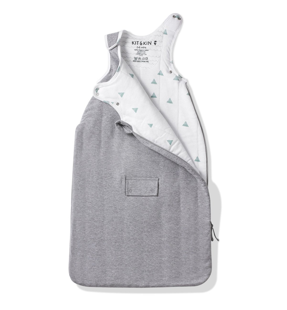 Fabric grey sleeping bag 0 to 6 months
