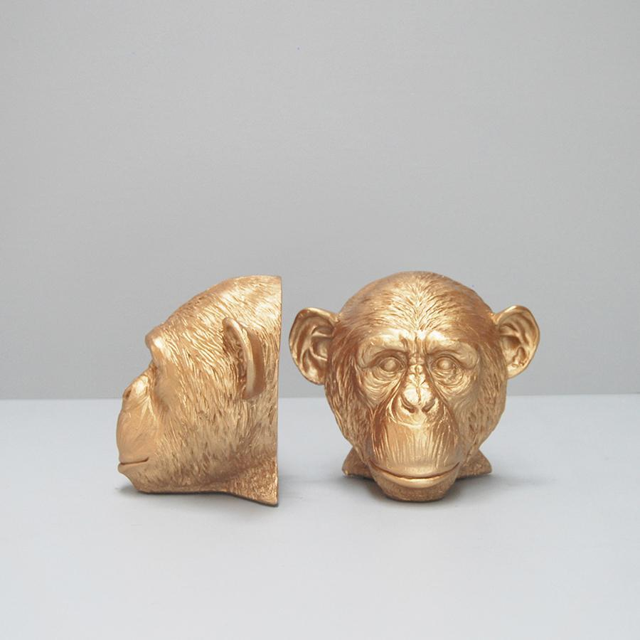 Monkey Bookends - Gold