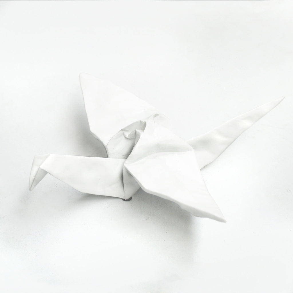 Solid Resin Origami Bird - White