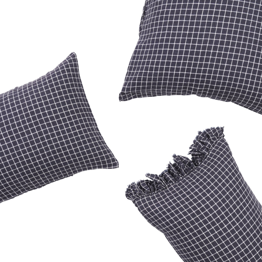 FRENCH NAVY GRID *new ~ Pillowcase