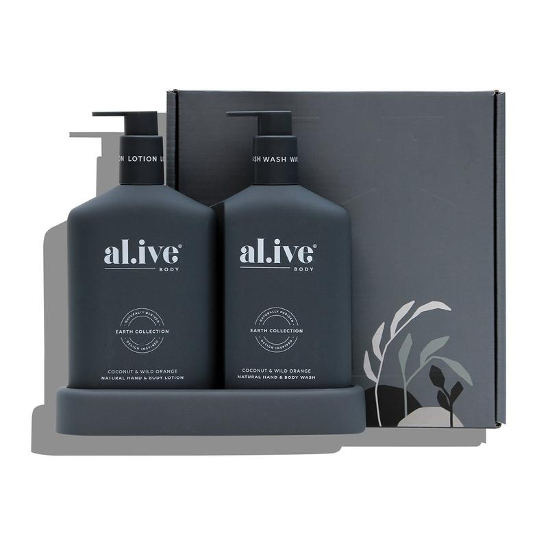 AL.IVE BODY WASH & LOTION DUO + TRAY - COCONUT & WILD ORANGE