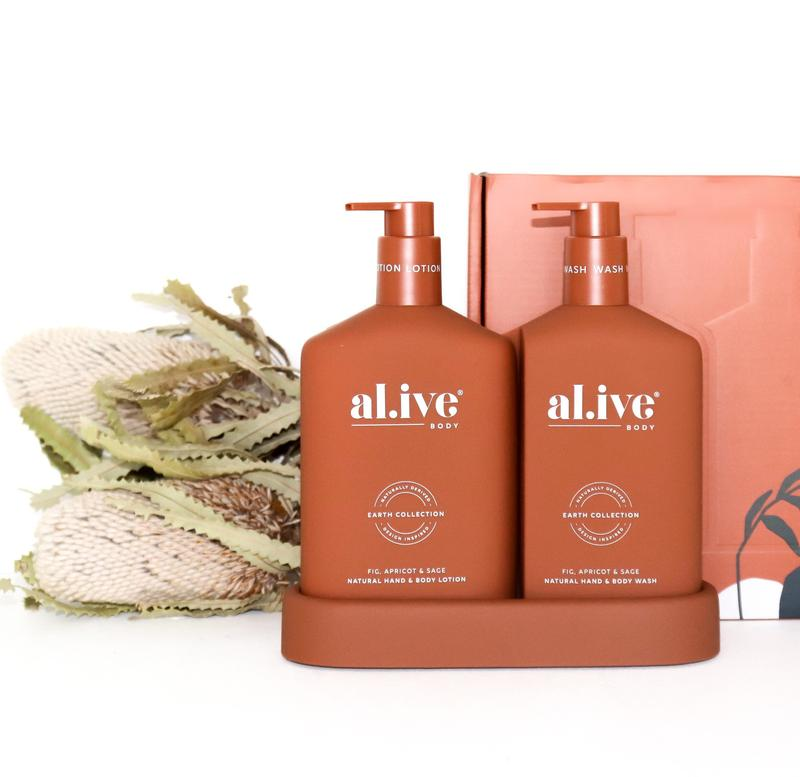 AL.IVE BODY WASH & LOTION DUO + TRAY - FIG, APRICOT & SAGE