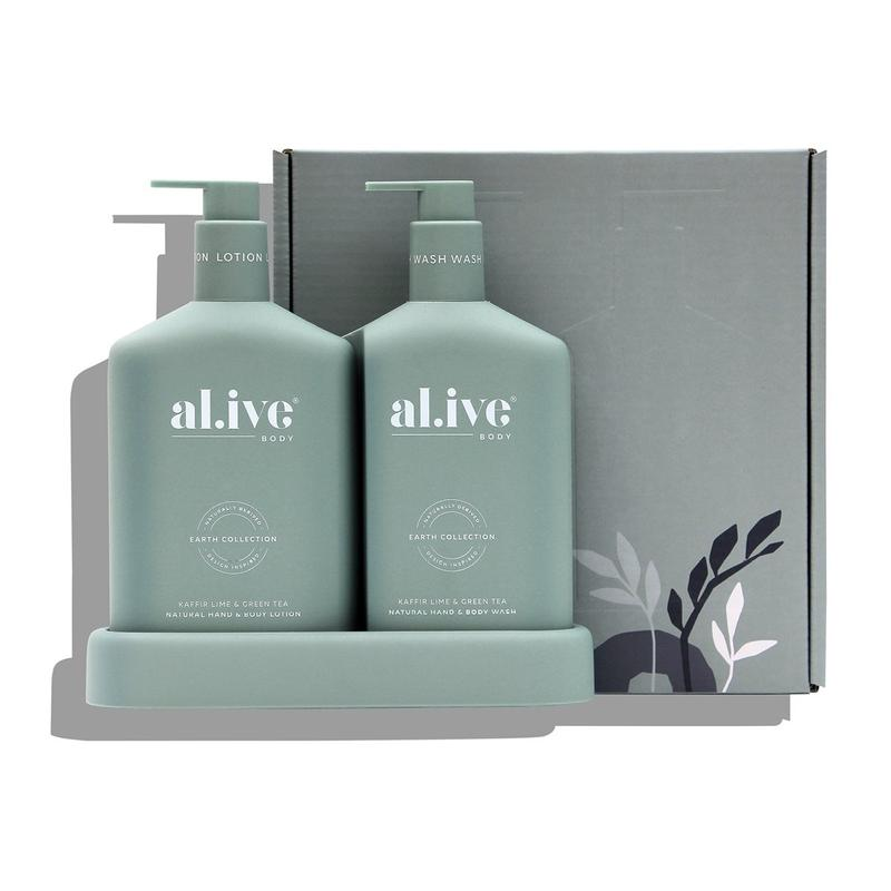 AL.IVE BODY WASH & LOTION DUO + TRAY - KAFFIR LIME & GREEN TEA