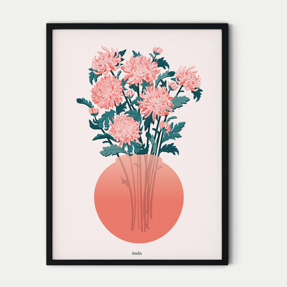 JAPANESE FLOWERS IN VASE poster