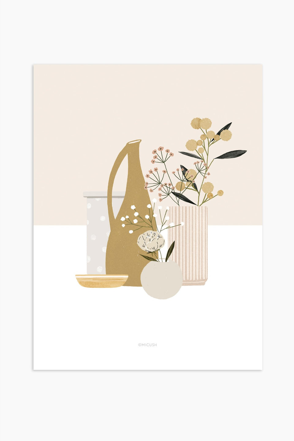 Pottery and flowers print - Pink