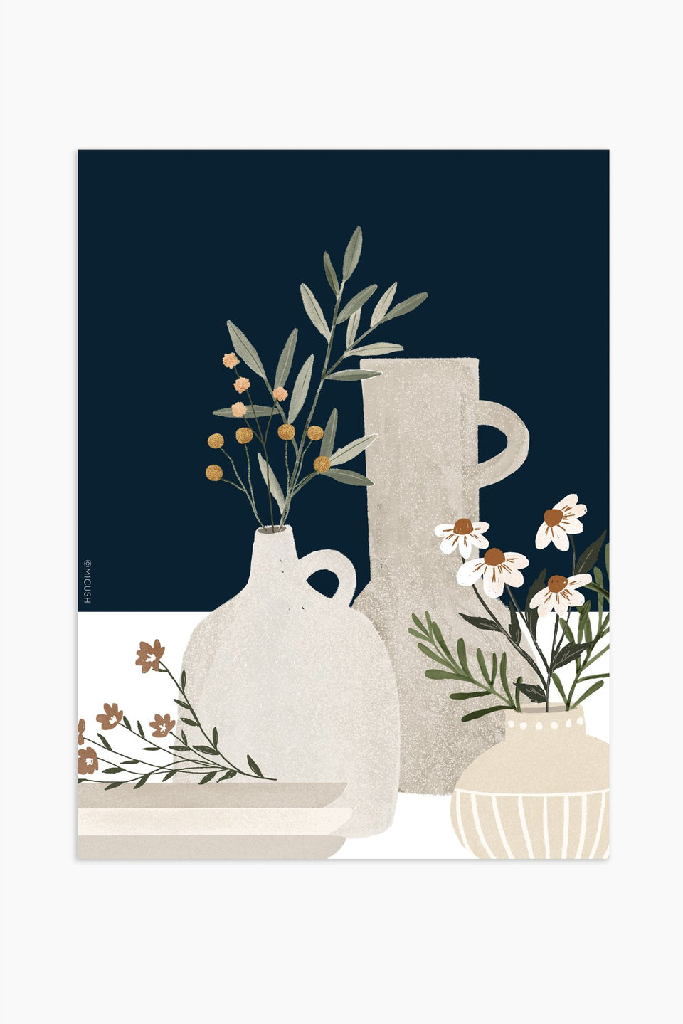 Pottery and flowers print - Dark blue
