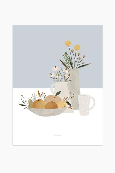 Pottery and flowers print - Light blue