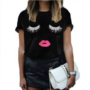 Fancy and casual women T-shirt with eyelash & sexy lips - 2 colors Tops- Emilie Bramly