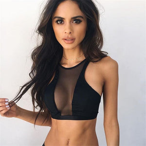Sexy Sports bra/Top Workout open on the front - Black Top- Emilie Bramly