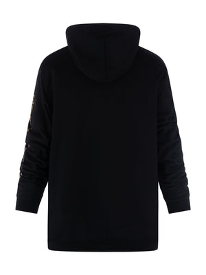 Girls Who Lift black hoodie reverse view