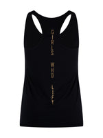 Girls Who Lift workout vest with gold print - reverse view