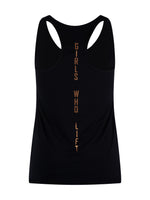 Girls Who Lift workout vest with rose gold print - reverse view