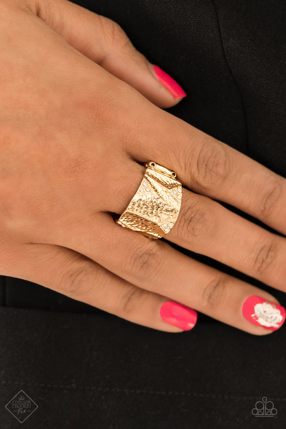 Paparazzi Accessories Industrial Indentation - Gold Ring - Mel's Pretty It Up Boutique