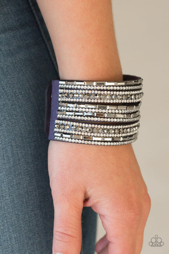 Paparazzi Accessories Wham Bam Glam - Blue Snap/Wrap Bracelet - Mel's Pretty It Up Boutique