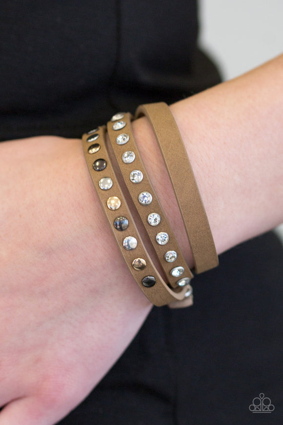 Paparazzi Accessories Catwalk Casual - Brown Snap/Wrap Bracelet - Mel's Pretty It Up Boutique