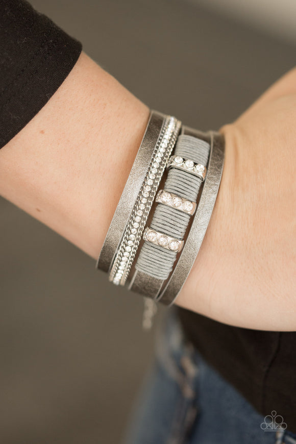 Paparazzi Accessories FAME Night - Silver Urban Bracelet - Mel's Pretty It Up Boutique