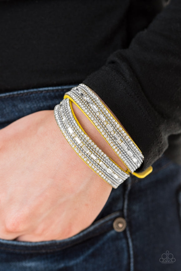 Paparazzi Accessories Shimmer and Sass - Yellow Snap/Wrap Bracelet - Mel's Pretty It Up Boutique