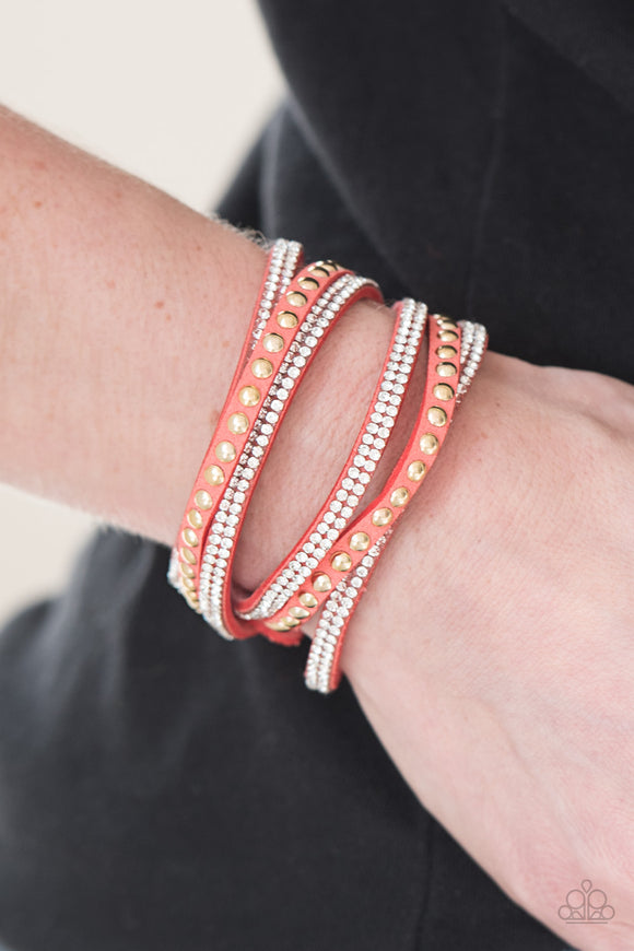 Paparazzi Accessories I BOLD You So! - Orange Snap/Wrap Bracelet - Mel's Pretty It Up Boutique