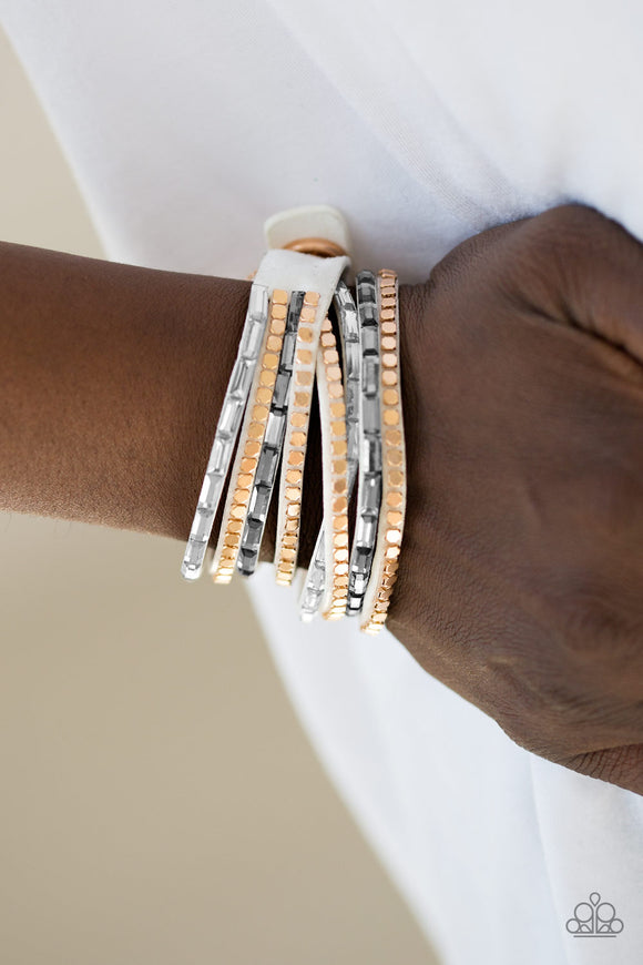 Paparazzi Accessories This Time With Attitude - White Snap/Wrap Bracelet - Mel's Pretty It Up Boutique