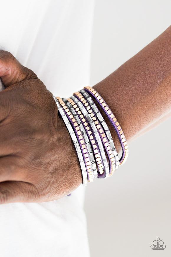 Paparazzi Accessories This Time With Attitude - Purple Snap/Wrap Bracelet - Mel's Pretty It Up Boutique