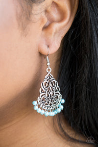Paparazzi Accessories BAROQUE The Bank - Blue Earring - Mel's Pretty It Up Boutique