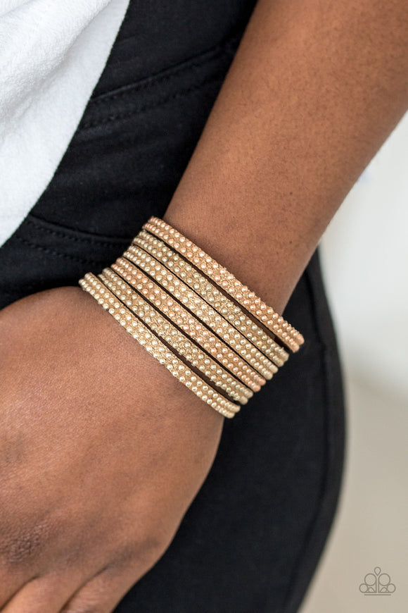 Paparazzi Accessories Fight Fire With Fire - Brass Snap/Wrap Bracelet - Mel's Pretty It Up Boutique