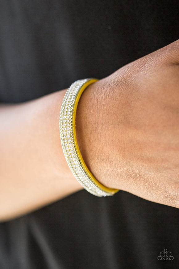 Paparazzi Accessories Babe Bling - Yellow Snap/Wrap Bracelet - Mel's Pretty It Up Boutique