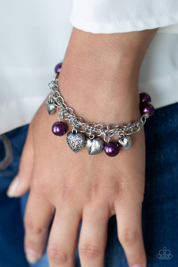 Paparazzi Accessories More Amour - Purple Bracelet - Mel's Pretty It Up Boutique