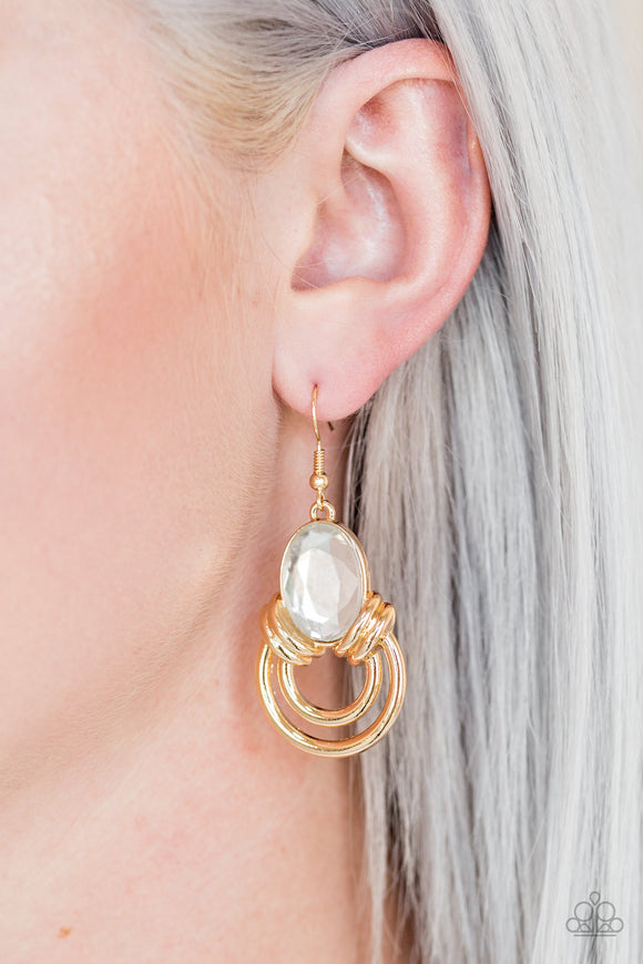 Paparazzi Accessories Real Queen - Gold Earring - Mel's Pretty It Up Boutique