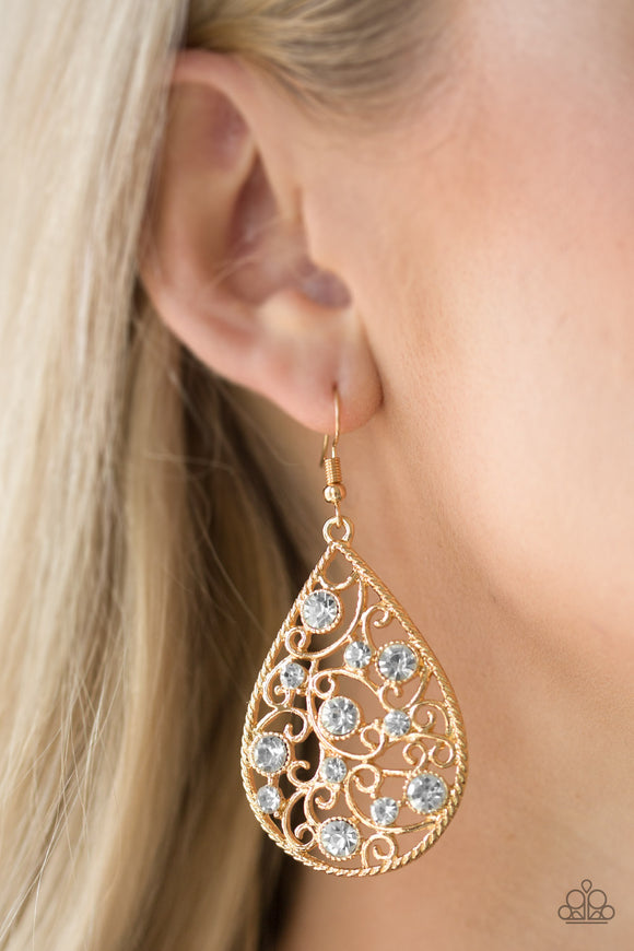 Paparazzi Accessories Certainly Courtier - Gold Earring - Mel's Pretty It Up Boutique