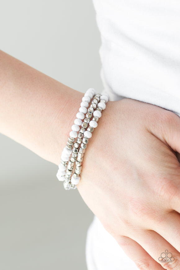 Paparazzi Accessories Very Vivacious - White Bracelet - Mel's Pretty It Up Boutique