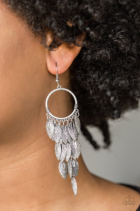 Paparazzi Accessories Feather Frenzy - Silver Earring - Mel's Pretty It Up Boutique